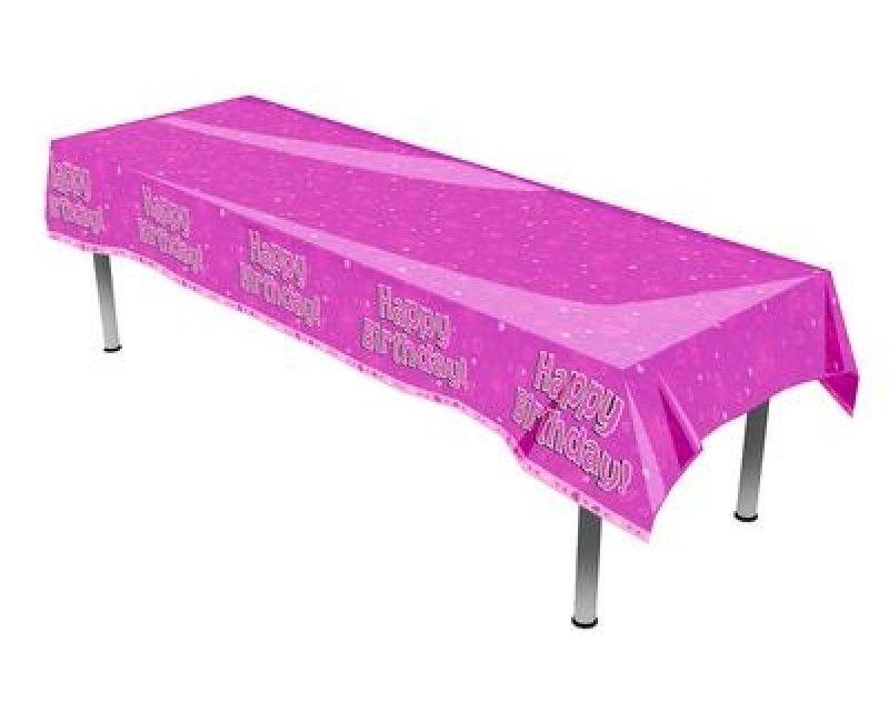 Tafelkleed Happy Birthday roze 137 x 260cm