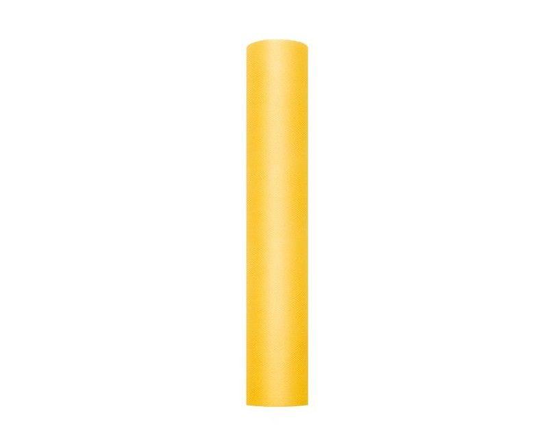 Tule geel 30cm breed, rol 9 mtr