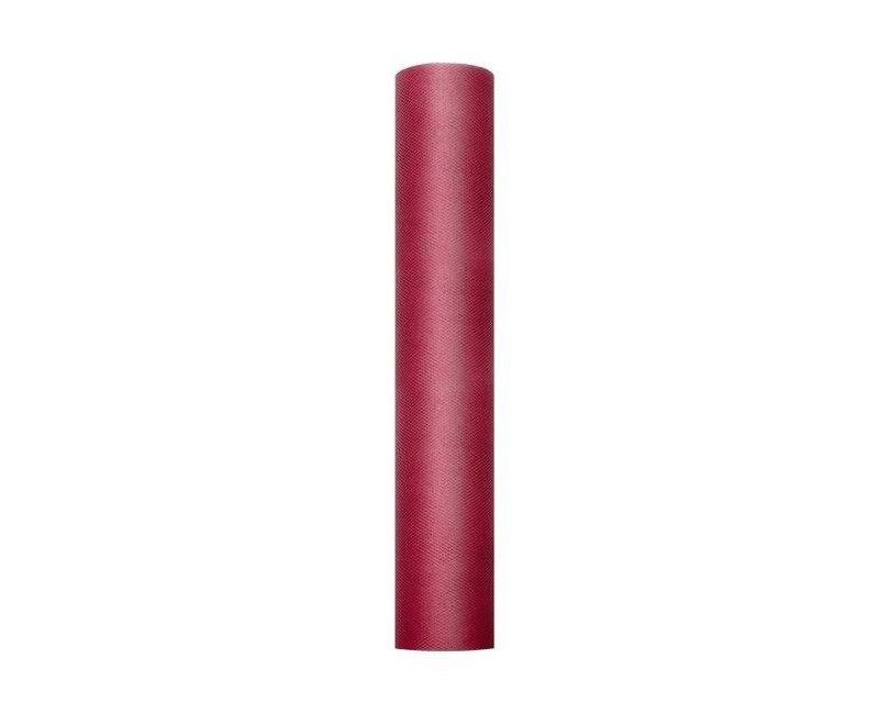 Tule diep rood 30cm breed, rol 9 mtr