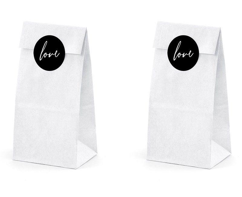 Bedankzakjes wit papier Love, 6 stuks