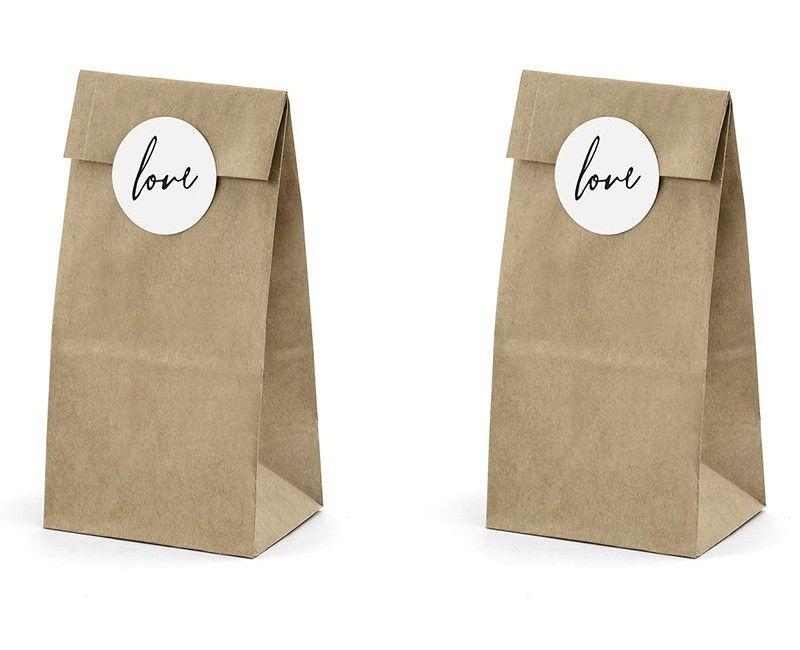 Bedankzakjes kraft papier Love, 6 stuks