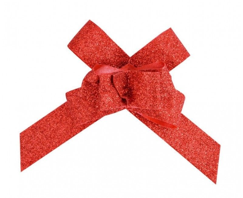 Trekstrik 14mm rood glitter, 10 stuks
