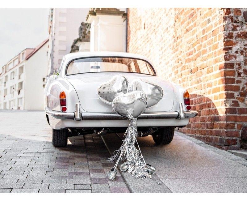 Trouwauto decoratie set hart zilver