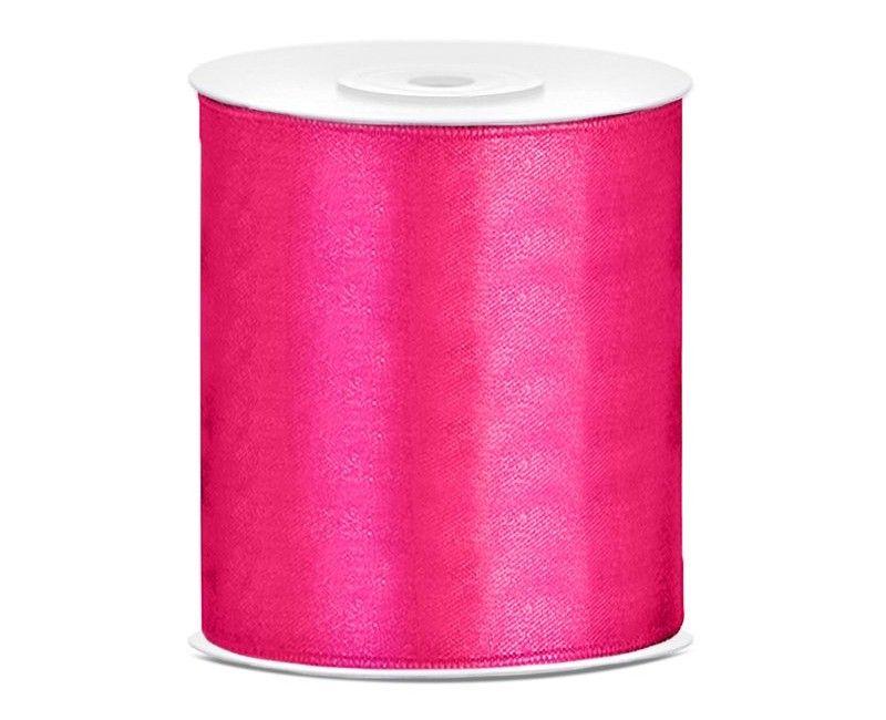 Satijn lint diep roze 100mm breed, rol 25 mtr