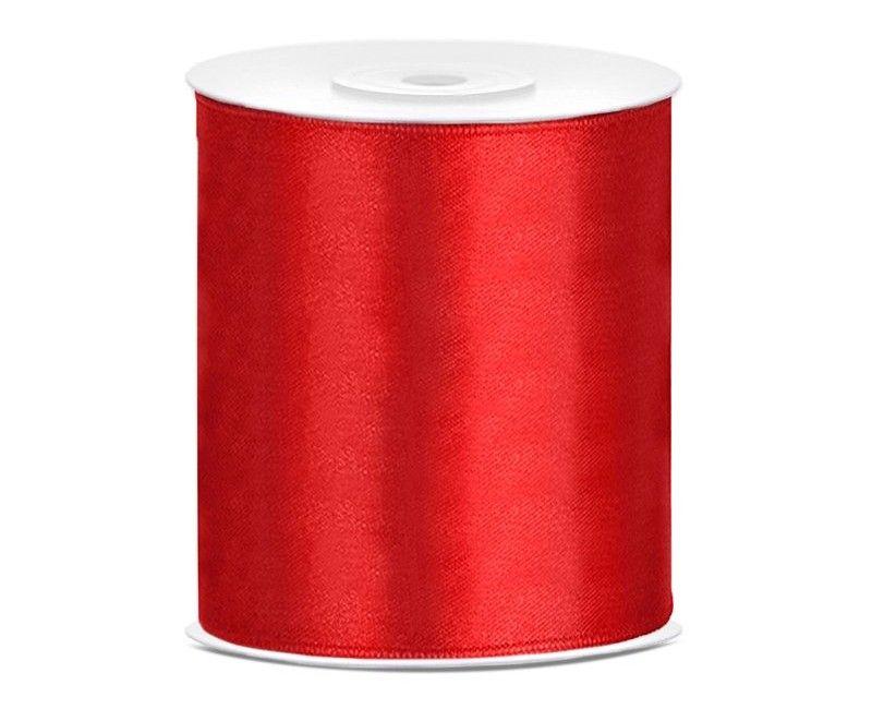 Satijn lint rood 100 mm, rol 25 mtr