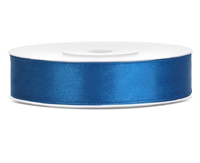 Satijn lint blauw 12mm breed, rol 25 mtr