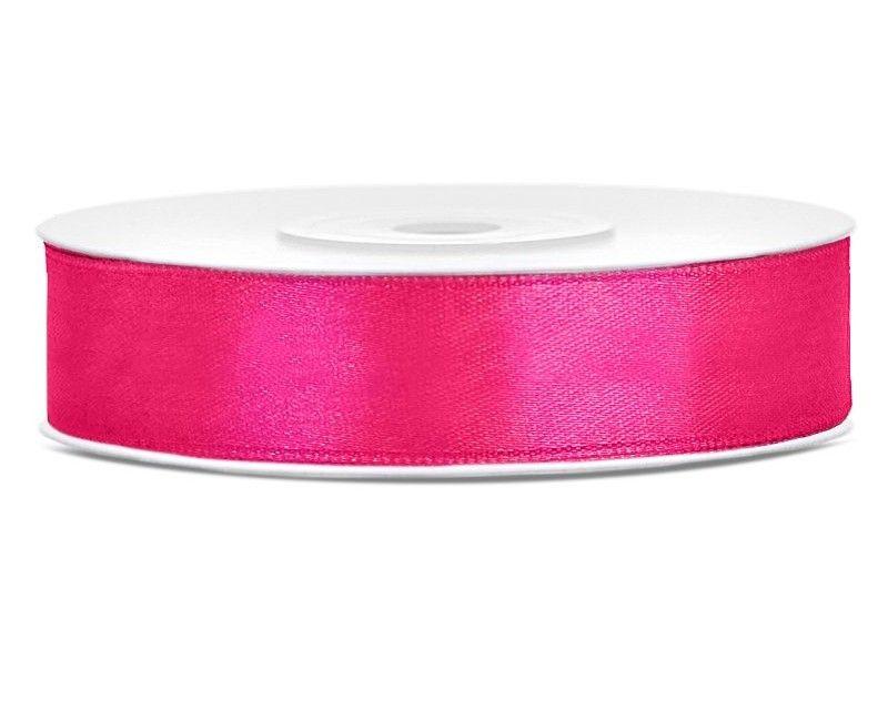 Satijn lint diep roze 12mm breed, rol 25 meter