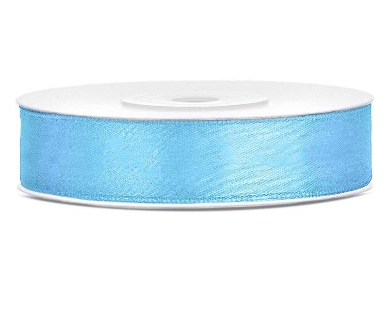 Satijn lint lichtblauw 12mm breed, rol 25 mtr