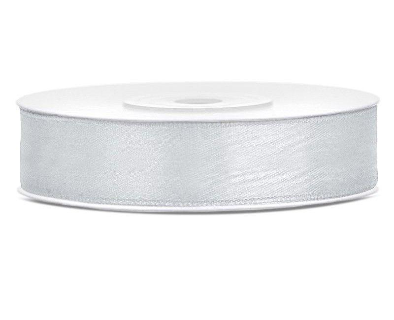 Satijn lint zilver 12mm breed, rol 25 mtr
