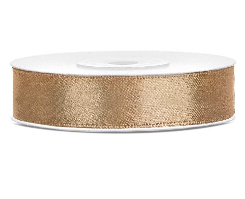 Satijn lint goud 12mm breed, rol 25 mtr