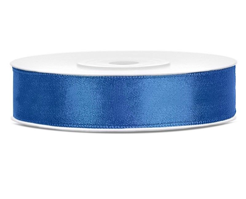 Satijn lint royal blauw 12mm, rol 25 mtr