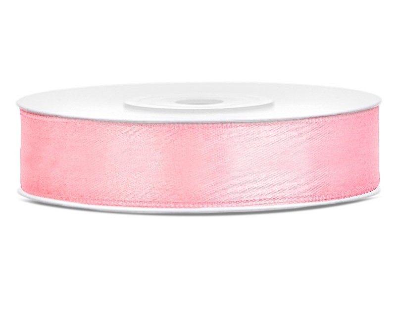 Satijn lint lichtroze 12mm breed, rol 25 mtr