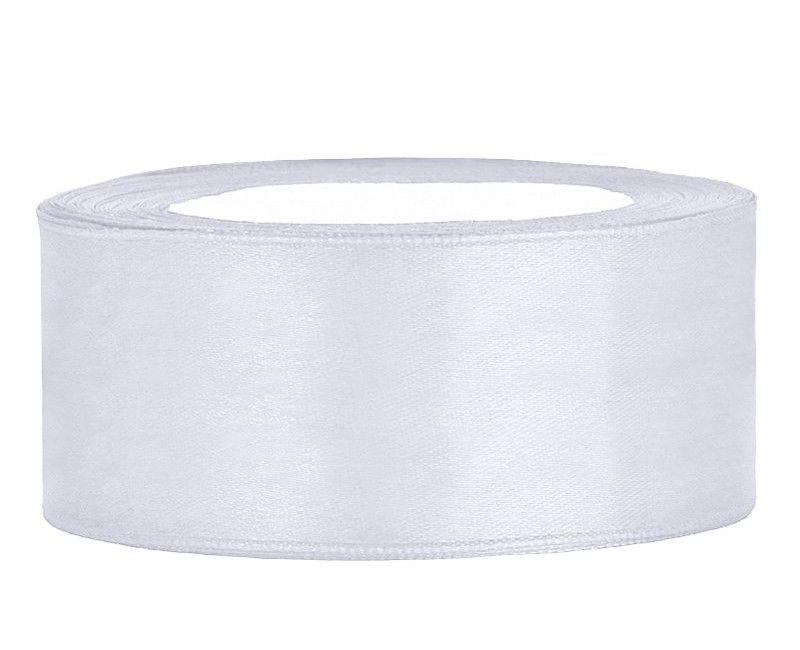 Satijn lint wit 25mm breed, rol 25 mtr