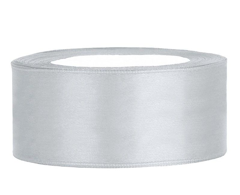 Satijn lint zilver 25mm breed, rol 25 mtr