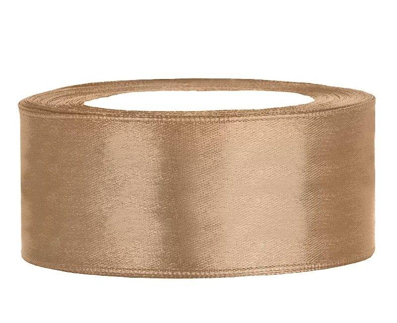 Satijn lint goud 25mm breed, rol 25 mtr