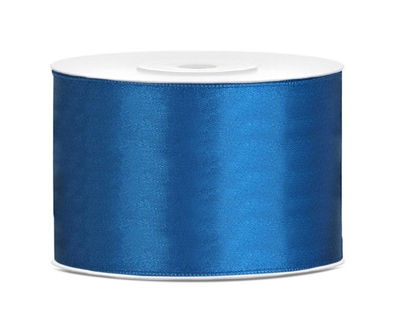 Satijn lint blauw 50mm breed, rol 25 mtr