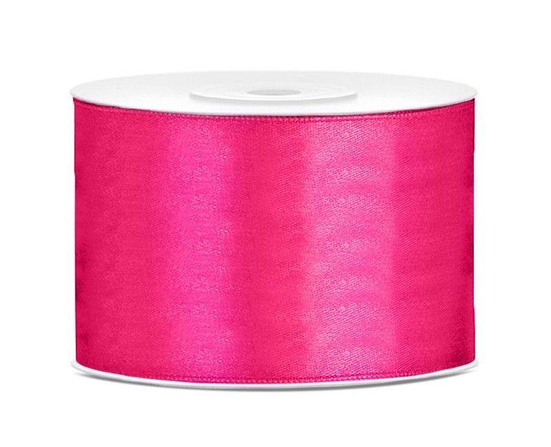 Satijn lint diep roze 50mm breed, rol 25 mtr