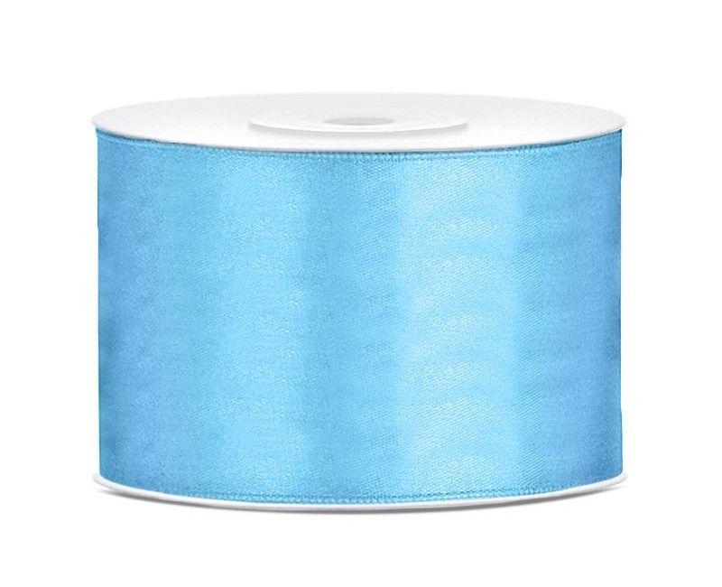 Satijn lint lichtblauw 50mm breed, rol 25 mtr