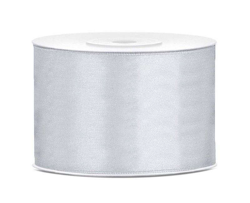 Satijn lint zilver 50mm breed, rol 25 mtr