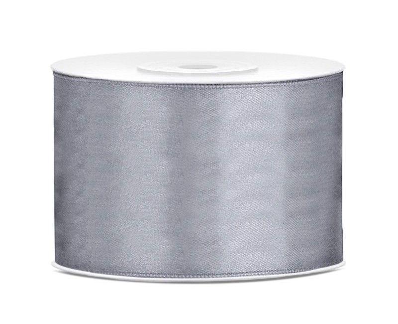Satijn lint grijs 50mm breed, rol 25 meter