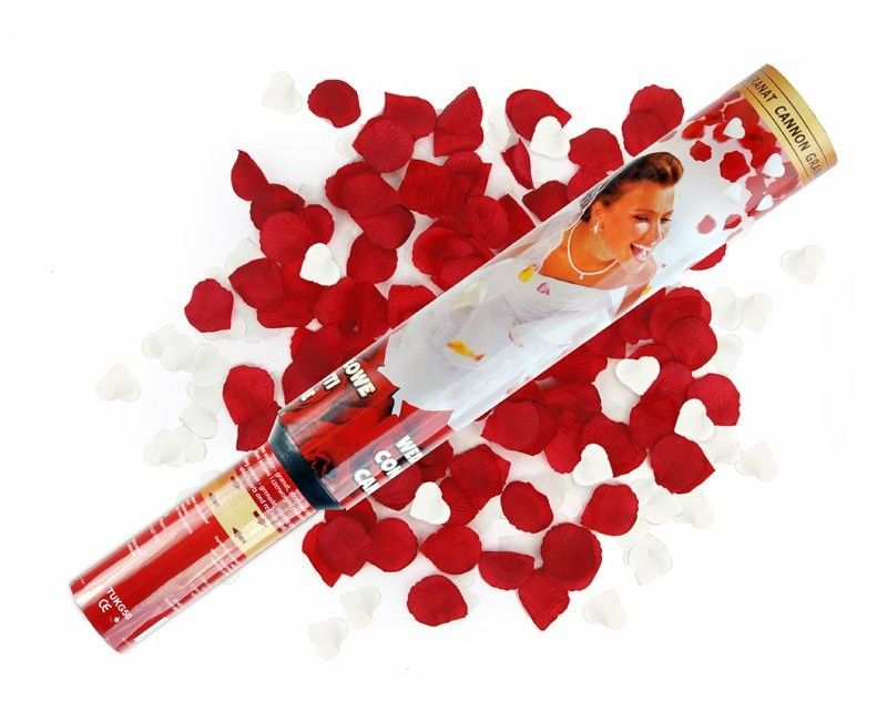 Confettishooter rood witte rozenblaadjes