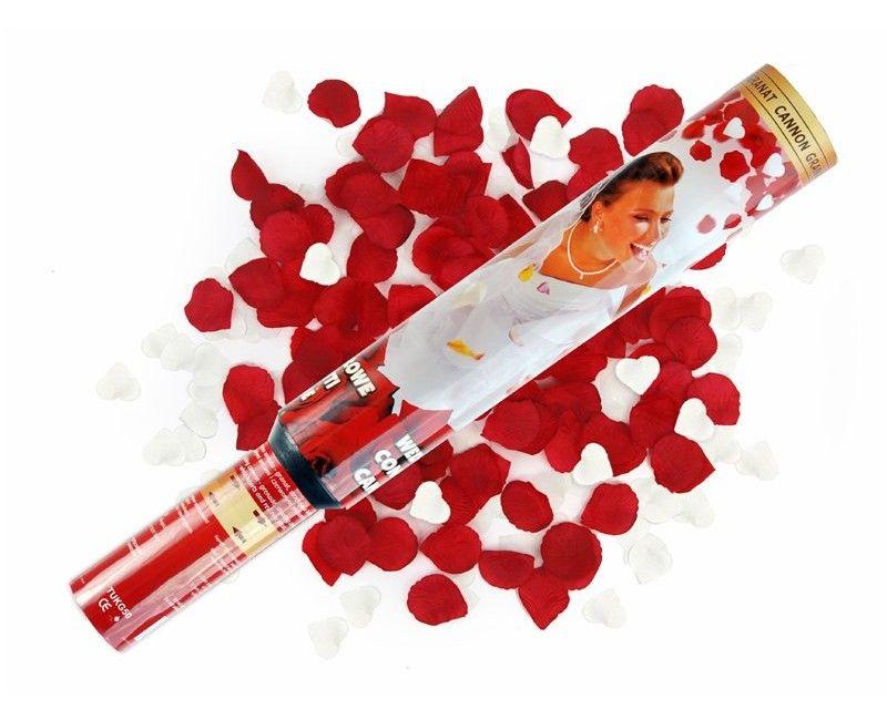 Confetticanon 50 cm hartjes en rozenblaadjes