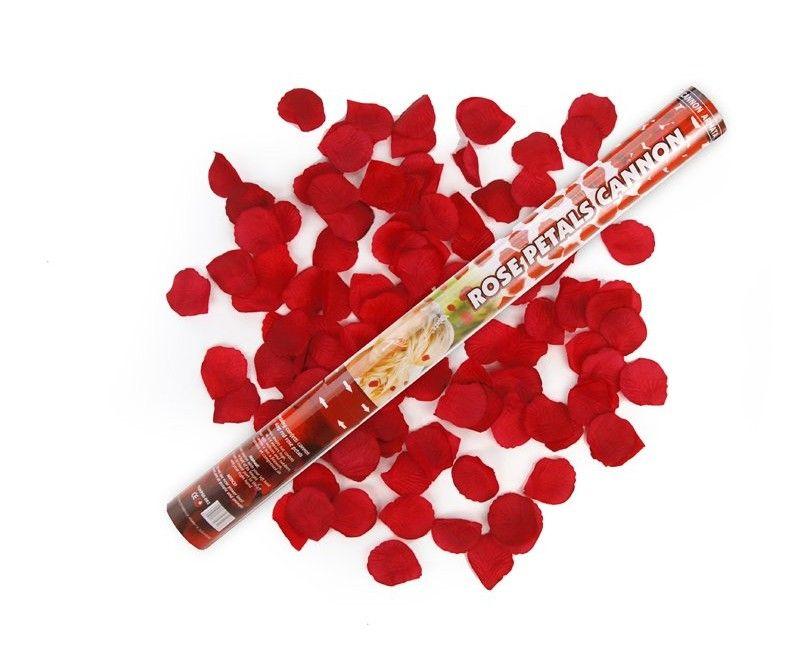 Confetticanon 60 cm rode rozenblaadjes
