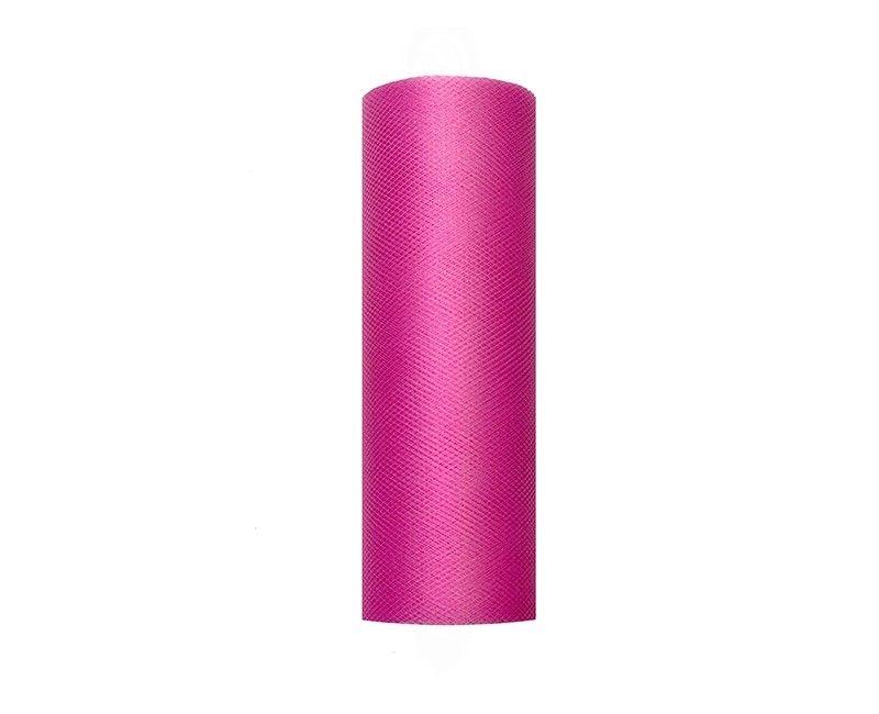 Tule roze 15cm breed, rol 9 mtr