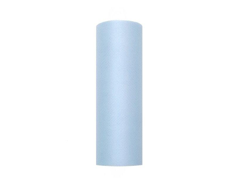 Tule lichtblauw 15cm breed, rol 9 mtr