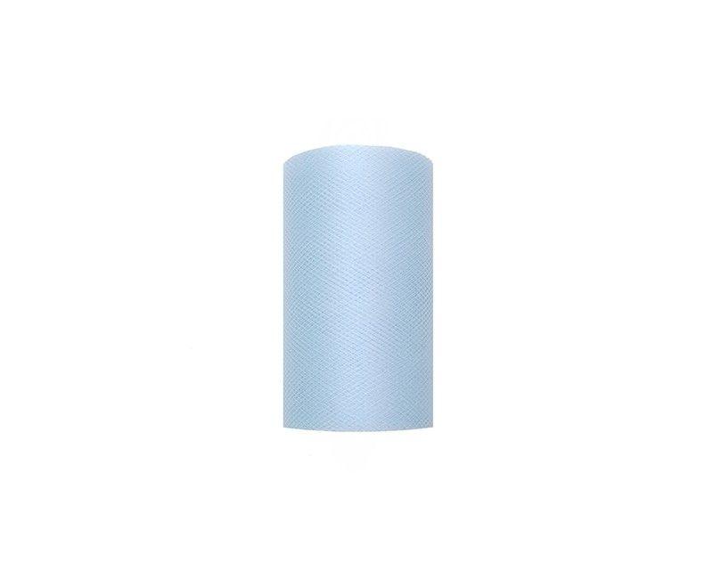 Tule lichtblauw 8cm breed, rol 20 mtr