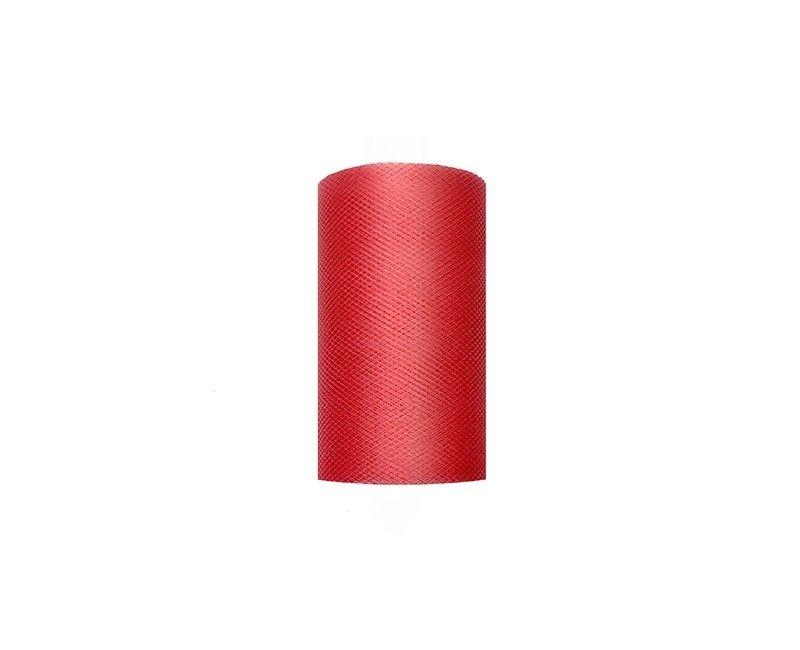 Tule rood 8cm breed, rol 20 mtr