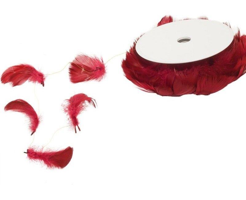 Decoratieve rode veren op draad, 10 meter