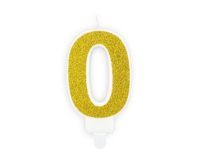 Verjaardags kaarsje goud glitter cijfer 0