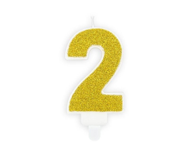 Verjaardags kaarsje goud glitter cijfer 2