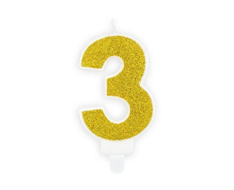 Verjaardags kaarsje goud glitter cijfer 3