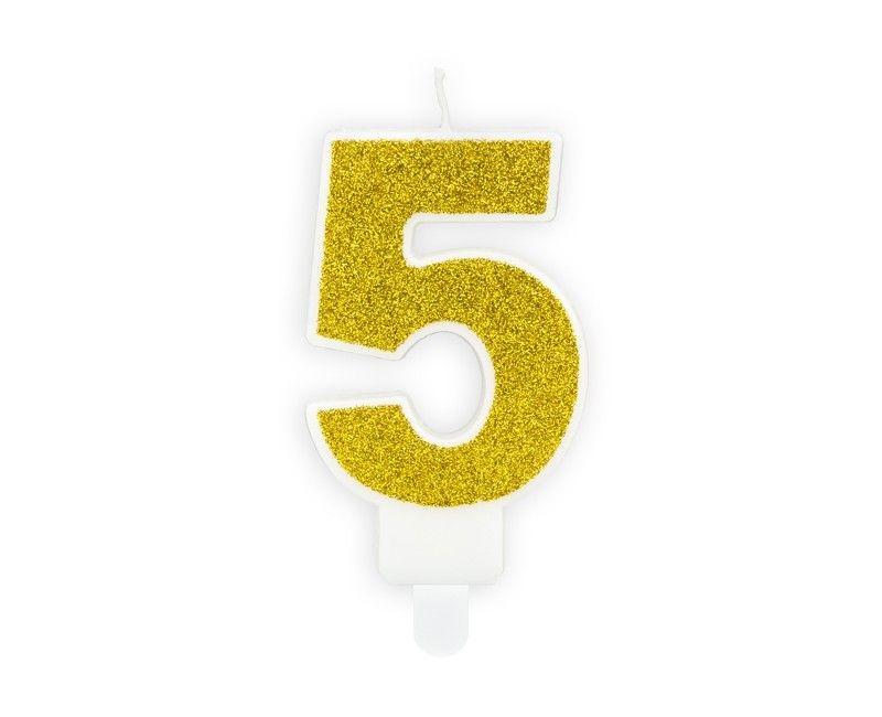 Verjaardags kaarsje goud glitter cijfer 5