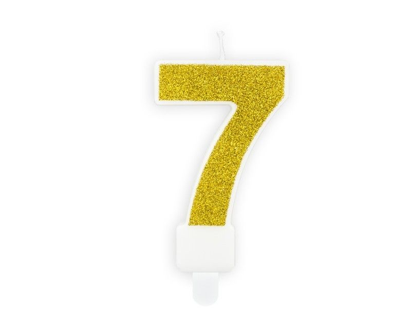 Verjaardags kaarsje goud glitter cijfer 7