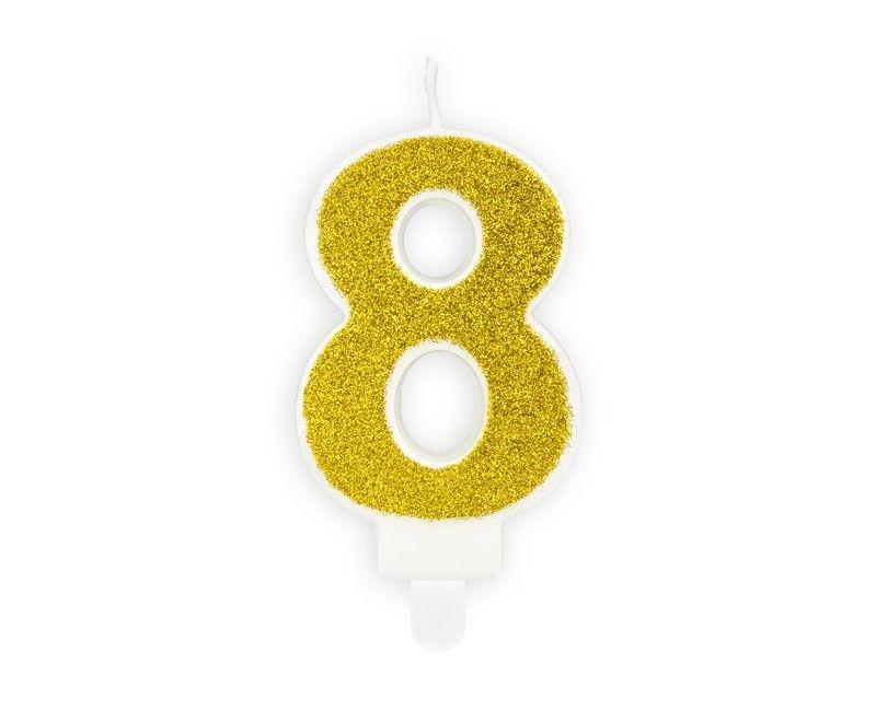 Verjaardags kaarsje goud glitter cijfer 8