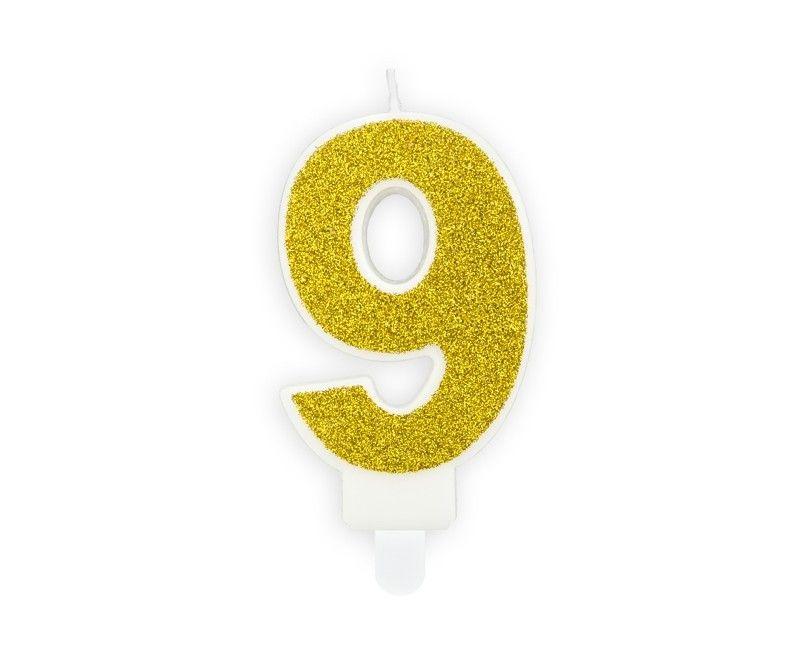 Verjaardags kaarsje goud glitter cijfer 9