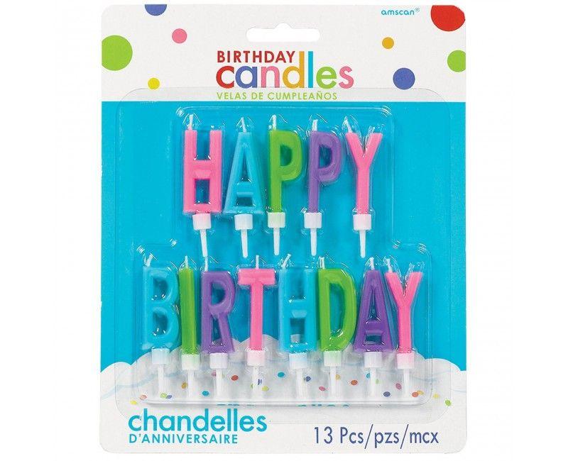 Verjaardags taartkaarsjes XL Happy Birthday mix