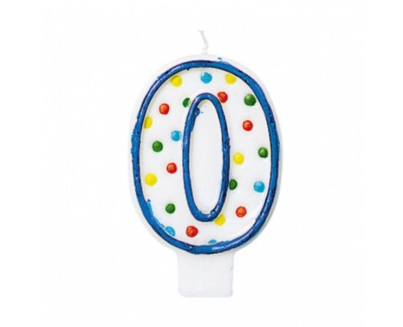 Verjaardags taartkaarsje met stippen cijfer 0