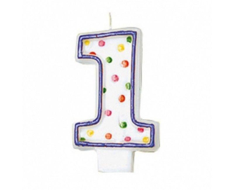 Verjaardags taartkaarsje wit met gekleurde stippen cijfer 1