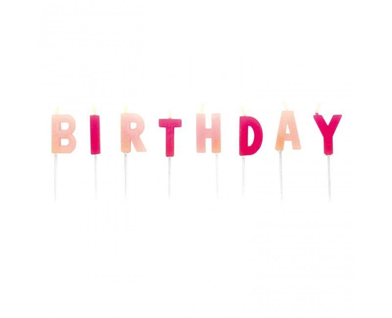 Verjaardag kaarsjes Happy Birthday roze