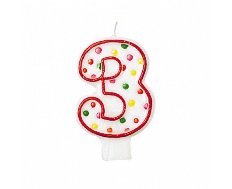 Verjaardags taartkaarsje wit met gekleurde stippen cijfer 3