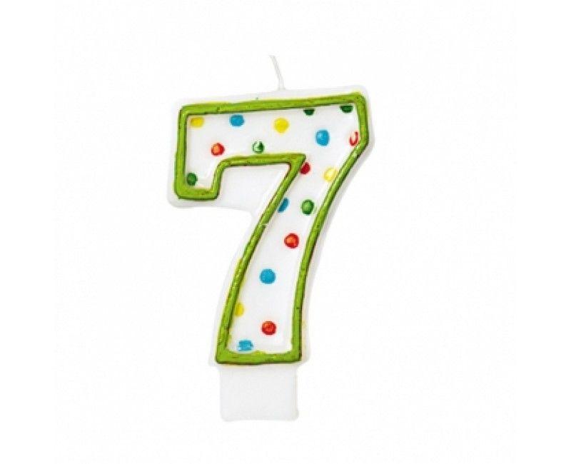 Verjaardags taartkaarsje wit met gekleurde stippen cijfer 7
