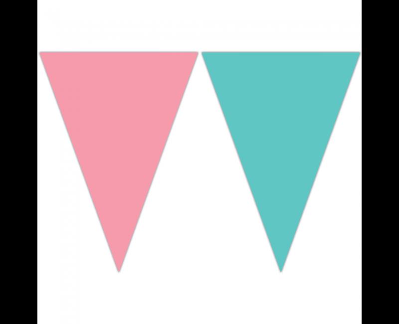 Vlaggenlijn pastel roze en groen, lengte 2.3 meter
