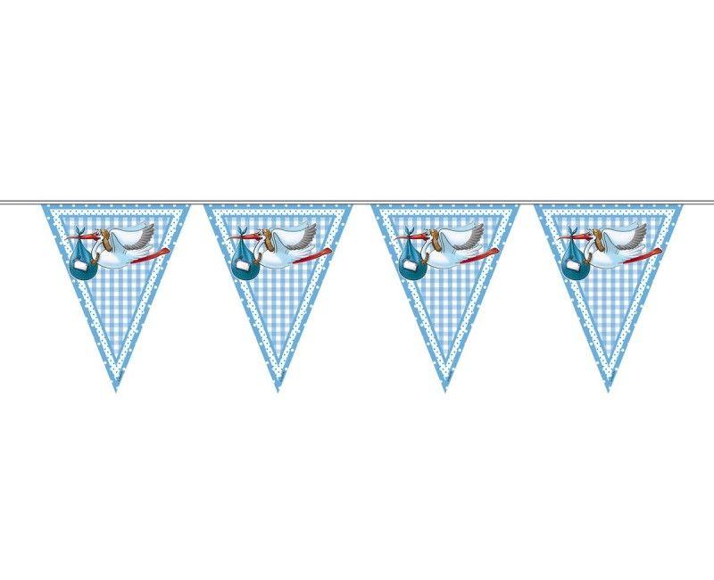 Vlaggenlijn slinger geboorte jongen, lengte 6 meter