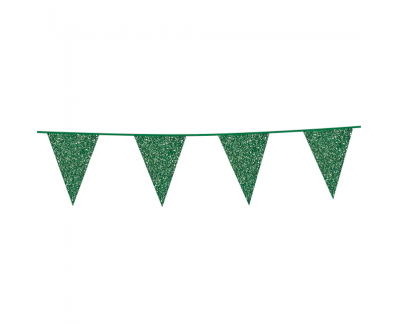 Vlaggenlijn slinger glitter groen, 6 meter