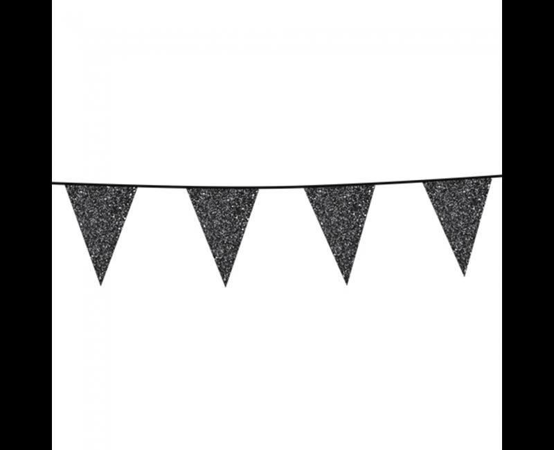 Vlaggenlijn slinger glitter zwart, 6 meter