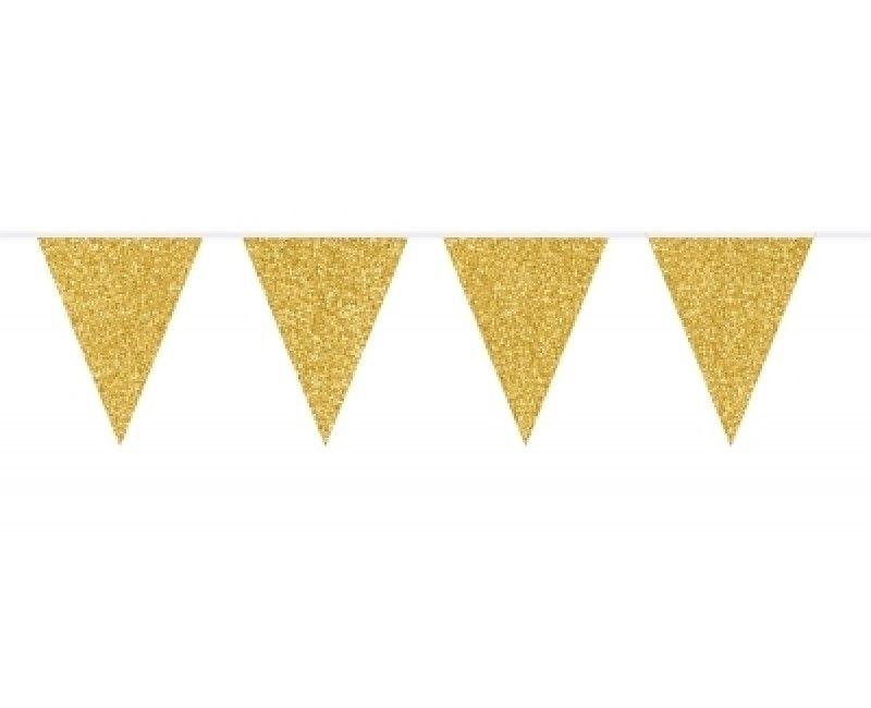 Vlaggenlijn slinger glitter goud, 6 meter